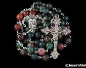 Catholic Rosary Beads Green Blue Red Indian Bloodstone Natural Stone Silver Traditional Five Decade