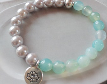 Aqua And Silver Bracelet   Faceted Agate With Shell Pearls And Lotus Charm Bracelet