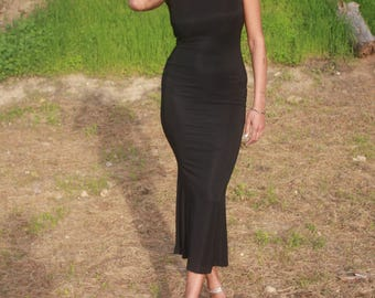 90s Body Con Maxi Dress Medium