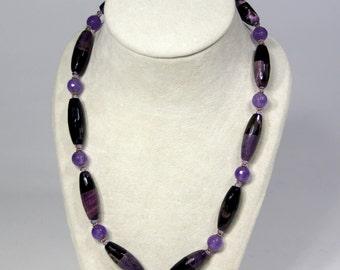 Purple & Black Agate Necklace with Swarovski Crystals