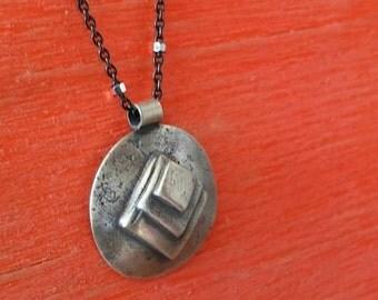 Sterling Silver Dainty Geometric Pendant on Gunmetal Ball Chain, Handmade In Los Angeles, California