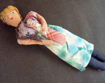 "Vintage Hand Made Folk Art 12"" Mother and Baby Rag Doll"