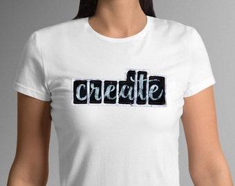 Create women's, white, t-shirt, S-XL