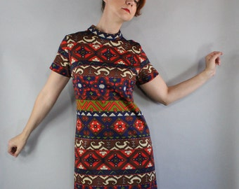 FREE SHIPPING 60s Womens Dress, Tribal Print, Rare Print, Short Sleeve, Mad Men, Office, Scooter Dress, Summer, Spring, Mod, Size Large