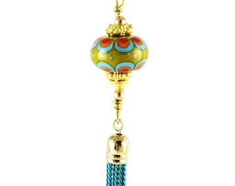 Tribal jewelry, Boho tassel pendant, African pendant, Tribal jewelry charm, green bead dangle, green tassel pendant,  bold handbag charm