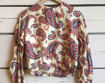 Vintage 1950s silk blouse • paisley blouse • 50s women's top