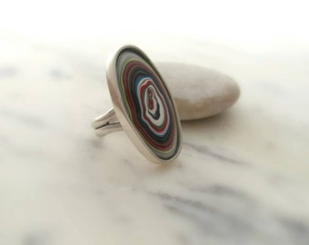 Sterling Silver Fordite Ring. Detroit Agate Statement Ring. Handmade Motor Agate Ring. Oval Fordite Ring.  Minimalist Fordite Ring