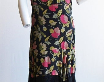 1930s Black Floral Print Silk Chiffon and Lace Dress Size M/L