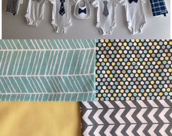 Baby Shower Decoration, Boy, Light blue, yellow and gray line with Tie, Bow Tie Onesie, Burp Cloths, Bib, ribbon and clothespins included