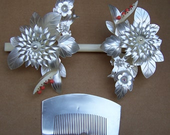 Vintage Japanese Geisha wedding bridal hair accessories mother of pearl effect headdress headpiece hair pin hair ornament