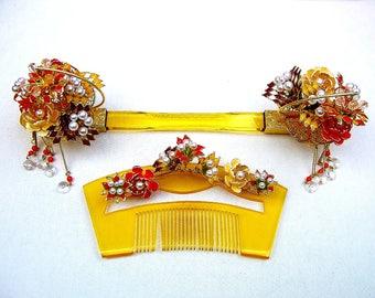 Vintage Japanese geisha comb hairpin bridal hair accessory set kanzashi headdress headpiece hair jewelry