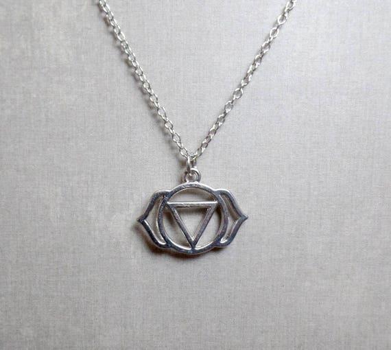 Silver Plated Third Eye Chakra Necklace - Chakra Charm Necklace - Third Eye Chakra Pendant