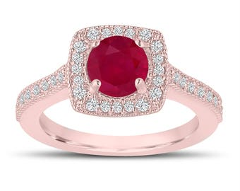 1.28 Carat Red Ruby Engagement Ring, Wedding Ring 14K Rose Gold Halo Pave Certified Handmade