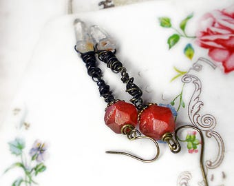 Rustic Beaded Earrings - Crystal Drops Glam Earrings - Berry Red Pressed Glass Beads - Oxidized Copper Wire Wrapping - Vintage Bead Caps