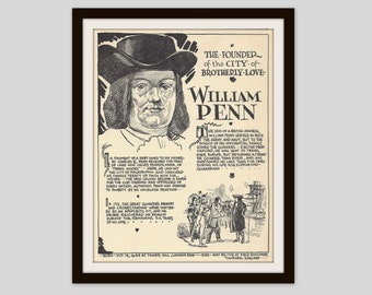 William Penn, Vintage Art Print, Classroom Art, History Teacher Gift, History Lovers Gift, Colonial History, American History, Pennsylvania