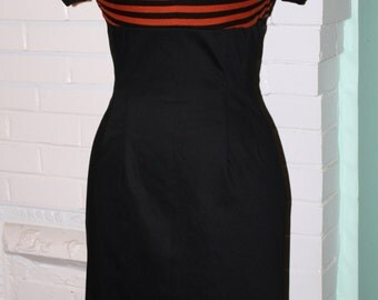 Joanie Queen Bee- Work Dress- Rust and Black Stripe Wiggle Dress- Custom Made to Size