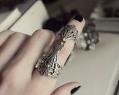 SALE - Aged Silver & Brass Armored Ring - Witch - Warlock - Gothic - Fantasy - Bohemian - Gypsy - Statement - Unique - Holidays - Christmas