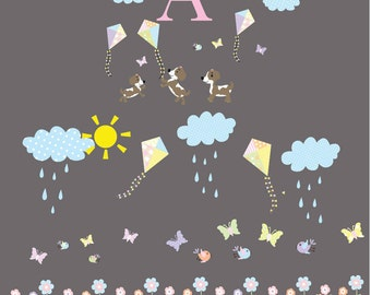 flowers sun clouds puppies name kites wall decals baby room decals puppy decals