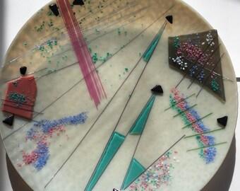 Memphis Group Glass Bowl Handblown 1980s Pastel Interiors