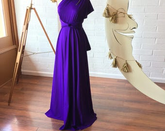 "Ready Made- Standard 50"" long Stargazer Royal Purple Octopus Infinity Wrap Gown~ Bridesmaids, Wedding, Special Occasion, Prom"