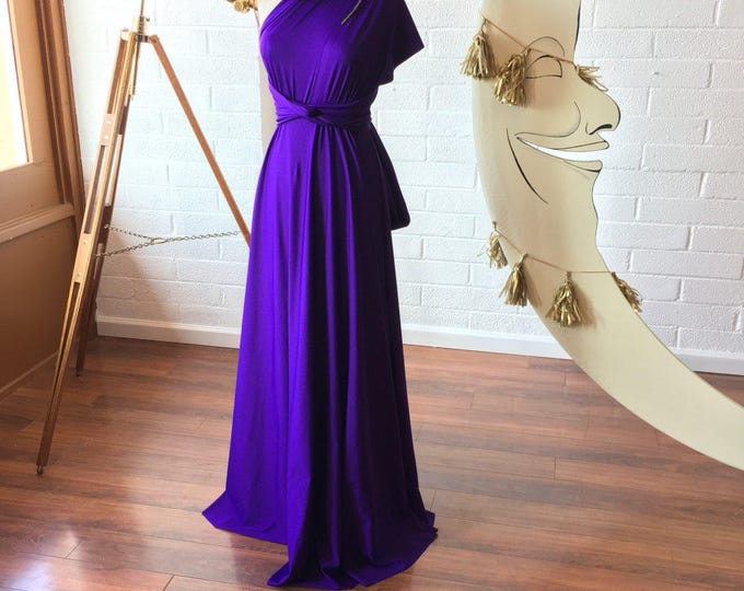 """Ready Made- Standard 50"""" long Stargazer Royal Purple Octopus Infinity Wrap Gown~ Bridesmaids, Wedding, Special Occasion, Prom"""