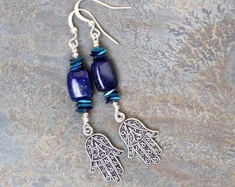 Lapis Lazuli Earrings, Hamsa Earrings, Blue Earrings, Middle Eastern Earrings, Beaded Earrings, Natural Stone Earrings, Handmade Earrings