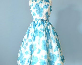 1950s Party Dress...JR. THEME Blue and Ivory Floral Chiffon Party Dress