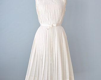 "1960s Day Dress...Vintage L""Aiglon White Pleated Dress Summer Dress"