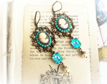 She Wore Blue, Genuine Carved Italian Shell Cameo,Vintage Aqua Rhinestone and Pearls Assemblage Earrings by Hollywood Hillbilly