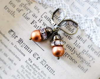 Chocolate Persimmon,Vintage Brown & Copper ,Rust Pearl and Rhinestone Vintage Pearl Assemblage Earrings by Hollywood Hillbilly