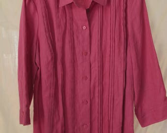Large Magenta Linen Shirt Liz Claiborne Bright Pink Summer Blouse Resort Wear New w/Tags Pintucks 3/4 Sleeves Button Front
