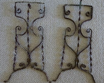 Ornate Vintage Cast Iron Metal Legs - Rusted Chippy Patina - Architectural Salvage - Iron Metal Salvaged Architectural Fragments