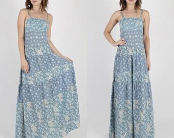 India Dress Indian Dress Festival Dress Pakistan Dress Ethnic Dress 70s Dress Boho Dress Vintage Blue Floral Boho Festival Tiered Maxi M