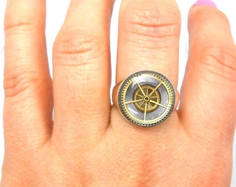 Steampunk Upcycled Genuine Watch Part Sterling Silver Man's Ring