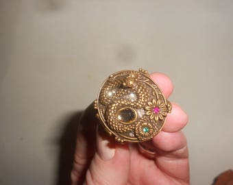 Snake Poison Ring Retro Egyptian Cleopatra Chic Bronze Compartment Beauty
