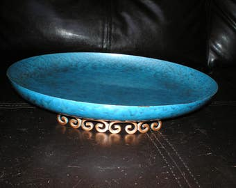 "Moire Kyes Enameled Fruit Bowl/Footed Tray-Atomic Ranch Mid-Century Modern Eames Era ""Moire Kyes Of California"" Teal/Turquoise Glaze"