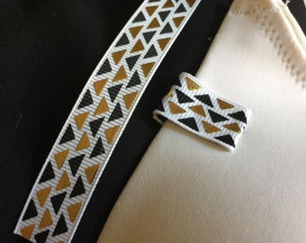 Mammary-Minders Nursing Reminder in White with black and metallic gold geometric triangle  (D2)