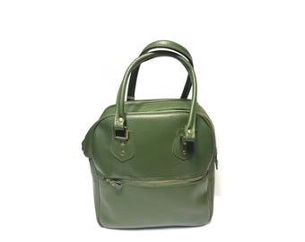 Vintage Travel Bag Green Vinyl with Keys Retro Tote Bag Vintage Shoe Bag Locking Bag Overnight Bag Luggage Bag Travel Handbag Collectible