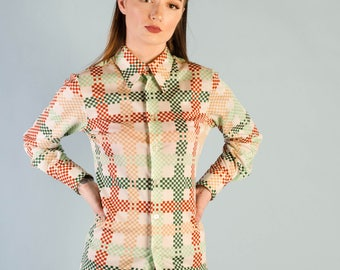 Vintage 1970's Givenchy Graphic Print Blouse