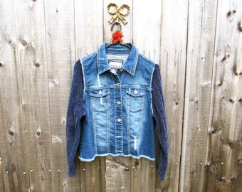 Upcycled Denim Jacket Upcycled Jean Jacket Distressed Jacket Upcycled Jacket Distressed Denim Blue Jacket Upcyclred Clothes Upcycled Sweater