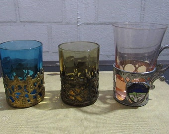 Vintage Trio of Colorful Glass Shot Glasses