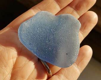 LARGE BLUE - Scottish Beach Glass - Natural Sea Glass Shard  (6208)