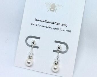 Pearl Earrings Silver & Swarovski elements First Communion Earrings, wedding earrings, confirmation earrings, bridesmaids earrings,