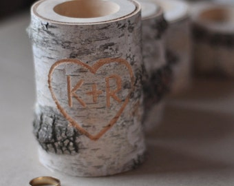 personalized  birch candle holder