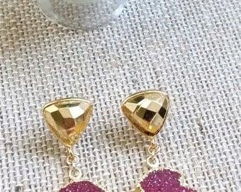 Druzy Arrowhead Earrings, Gold Arrow Earrings, Pink Druzy Drop Earring, Minimalist Boho Jewelry, Druzy Stud Earrings, Druzy Jewelry