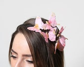 Garden Pink Butterfly Headband - woodland, fairy tale, pastel