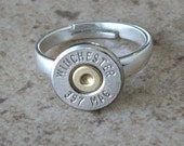 Winchester 357 Mag, Sterling Silver Adjustable Ring, Size 6 to 9, Great Gift Item - 386
