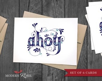 Ahoy - 10 folded greeting cards