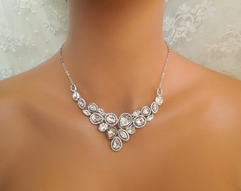 Rhinestone Necklace Crystal Necklace Bridal Necklace Vintage Style Wedding Jewelry Statement Bridal Necklace Swarovski Bridal Necklace JADE