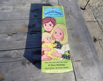 The Sunshine Family paper dolls set 1974 by Mattel with Steve, Stephie and Sweetie and 26 outfits 8 for Steve 8 for Stephie 10 for Sweetie